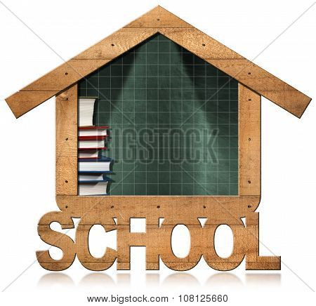 Blackboard - School Building Shaped