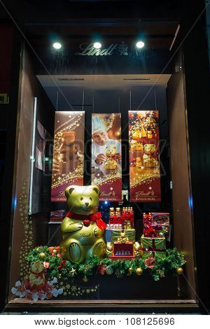 The Christmas Showcase In Chocolate Lindt Shop.
