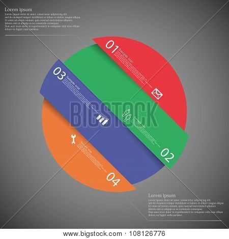 Infographic Template With Circle Askew Divided To Four Color Parts