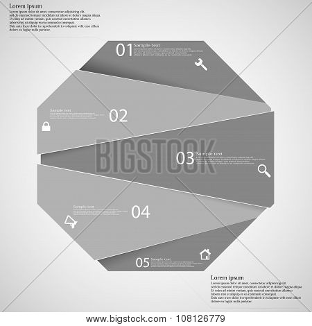 Infographic Template With Grey Octagon Randomly Divided To Five Parts
