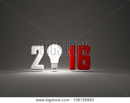 2016 New Year Sign With Light Bulb