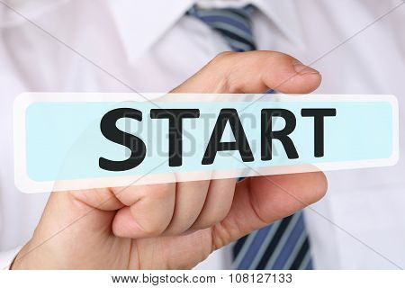 Businessman Business Concept With Start Starting Beginning