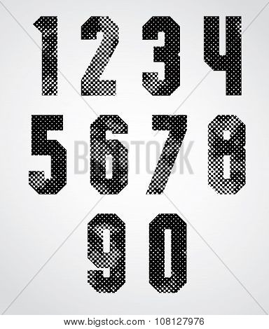 Black And White Dotty Graphic Industrial Numbers.