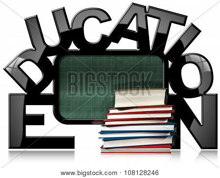 Education Blackboard With Books