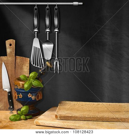 Empty Blackboard In The Kitchen