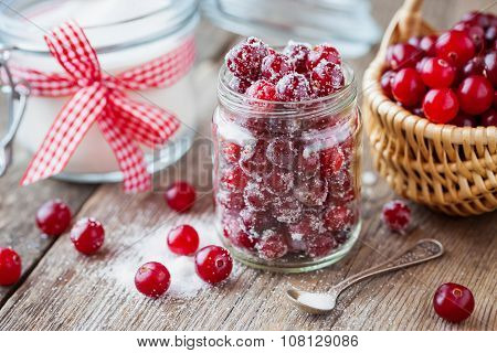 Cranberries With Sugar In Glass Jar, Basket With Berries And Sugar Bowl