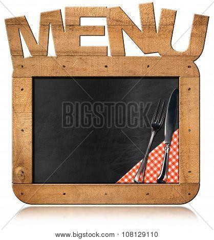 Old Empty Blackboard With Text Menu