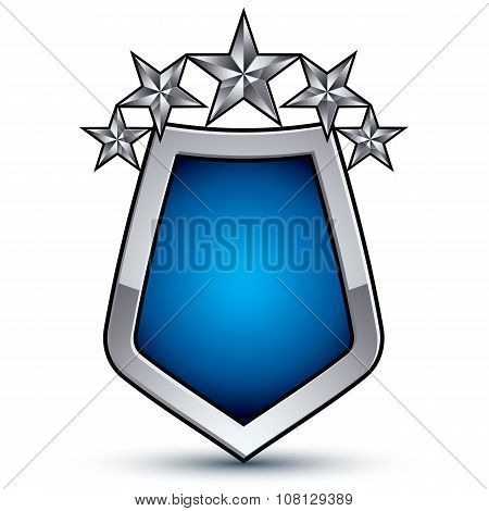 Majestic Blue Vector Emblem With Five Silver Decorative Pentagonal Stars, 3D Royal Conceptual Design