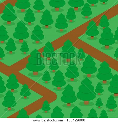 Forest Seamless Pattern. Spruce Thicket Natural Background. Forest Trails And Trees. Texture For Bab