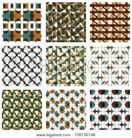 Set Of Colored Grate Seamless Patterns With Parallel Lines, Ribbons And Geometric Figures, Transpare