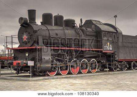 Black Steam Locomotive With Red Star