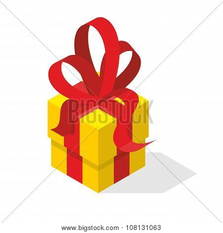 Gift Box With Bow. Yellow Box And Red Tape. Isometric Illustration Gift. Festive Accessory For Any H
