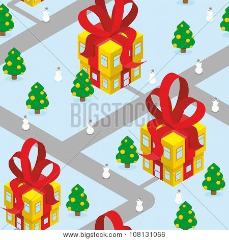 Gift Christmas city seamless pattern. Fantastic urban district. Gift box offices with red bow. Resid