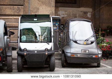 public Electric Car Recharging A Parking Spot