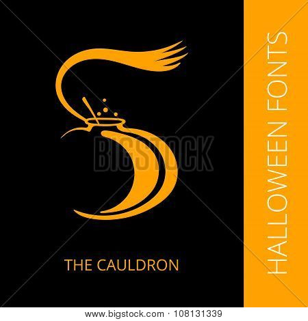 Halloween alphabet letter S consist of the cauldron