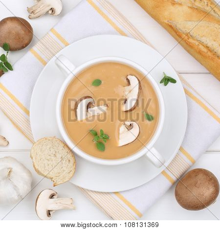 Mushroom Soup With Mushrooms In Bowl From Above Healthy Eating