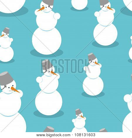 Snowman Seamless Pattern. Background Of Snow Figure. Texture Of Christmas Winter Character. Snow Scu