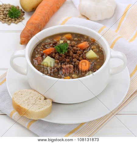 Lentil Soup Stew With Lentils In Bowl Healthy Eating
