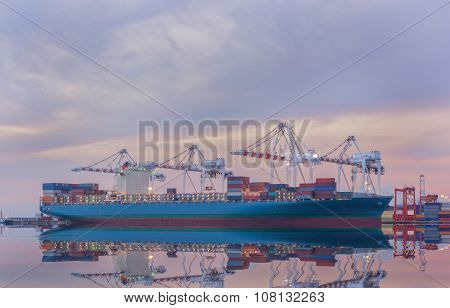 Cargo Ship In Trade Port , Container Loading Shipping By Crane