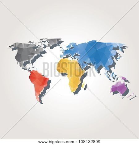 abstract vector background with low poly world map