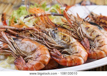 Group Of Grilled Shrimps