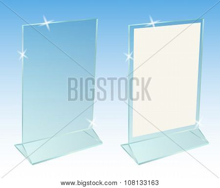 Glass Transparent Advertising Desktop Stand For Paper Sheet