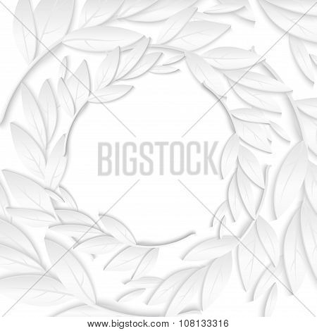 Circular Frame of white paper branches and leaves on white background. New Year card background