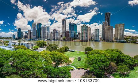 BRISBANE, AUS - NOV 13 2015: Panoramic view of Brisbane Skyline and the river. It is Australias third largest city, capital of Queensland.