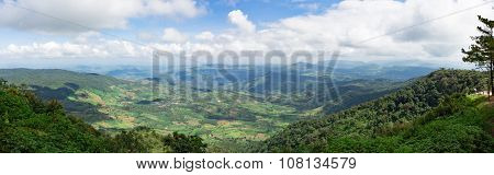 Mountain And White Cloud On Blue Sky In Phu Ruea National Park Northern Thailand.