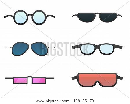 Vector colorful sunglasses. Separate layers for easy editing