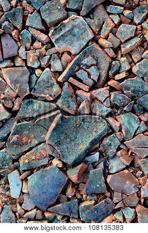 Broken Ceramic Roof Tiles