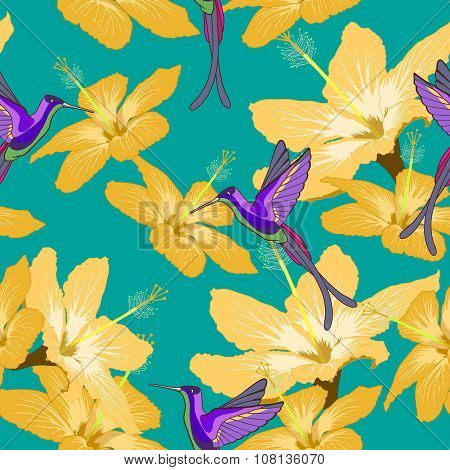 Seamless Pattern With Hibiscus Flowers And Hummingbird On Green Background
