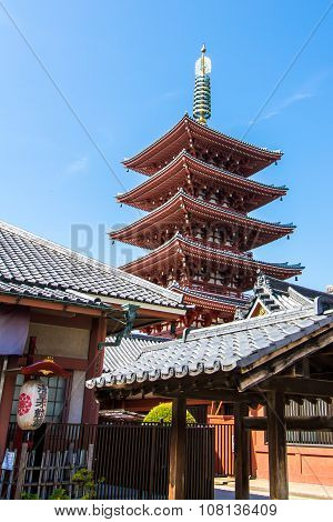 The Pagoda At Senso-ji Temple In Tokyo, Japan