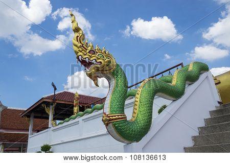 Thai sculpture naga in temple of thailand