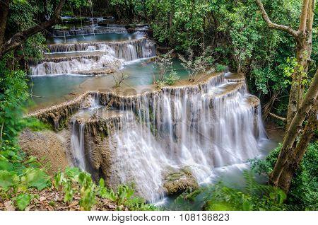 Huai Mae Khamin Waterfall In Kanchanaburi, Thailand