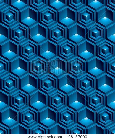 Blue continuous multicolored pattern illusive motif abstract background with 3d geometric figures.