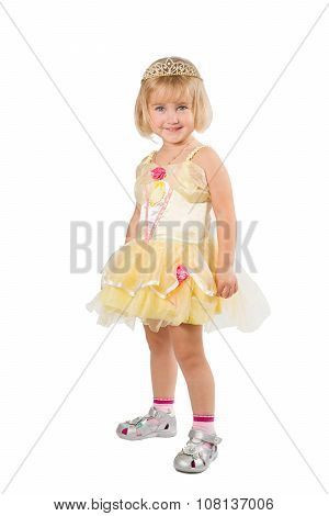 Little Girl In A Beautiful Yellow Dress And Crown On White Background.