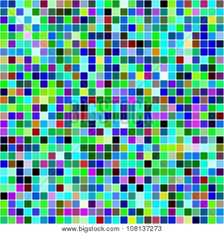 Blue dominated multicolor square mosaic background