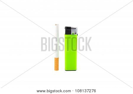 Green lighter and cigarette on white