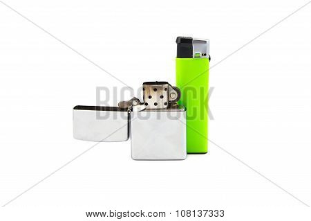 Two lighters on white background