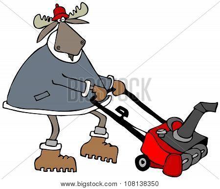 Bull moose using a snowblower