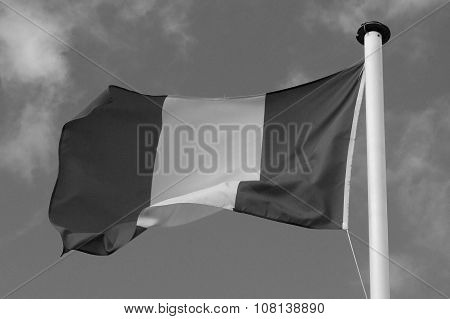 National Flag of France - Europe - black white