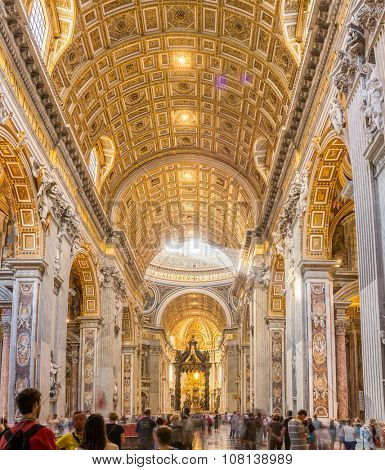 Vatican - September 11, 2015: Inside view of Saint Peter's Basilica on September 11, 2015, Rome, Italy.