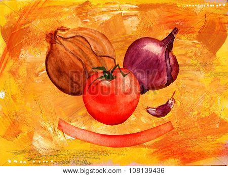 A painting of two types of onions, a garlic clove and a bright red tomato with a banner on an artist