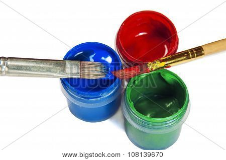 Paint Brushes On Paint Buckets