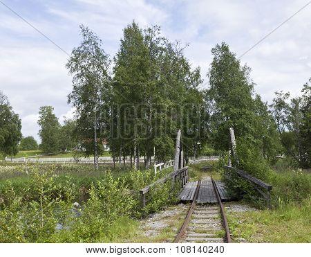 Railroad, railway track in summertime.