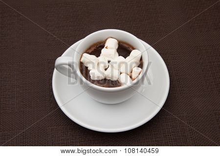 Cup Chocolate With Zephyr On Brown Table
