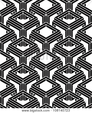 Endless Monochrome Symmetric Pattern, Graphic Design. Geometric 3D Intertwine Optical Composition.