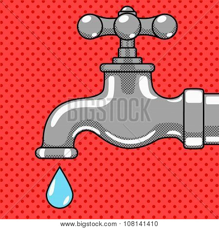 Water tap with drop comic style vector