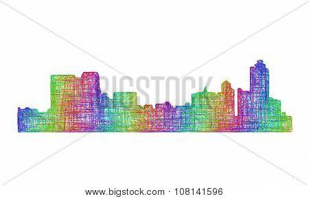 Memphis skyline silhouette - multicolor line art